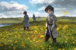 1girl 2boys belt belt_pouch black_gloves black_legwear brown_eyes brown_hair cloud collared_shirt day double-breasted expressionless field flower flower_field gloves grass gun highres long_coat looking_at_viewer meadow multiple_boys original ponytail poppy_(flower) rifle scenery shirt short_hair skirt sky tall_grass treeware weapon