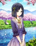 1girl absurdres black_hair blue_sky bracelet cherry_blossoms cloud collarbone day dress floral_print flower green_ribbon grey_eyes hair_ribbon hands_together highres jewelry kishida_mel looking_at_viewer outdoors petals pink_flower purple_dress ribbon river school_fanfare short_hair sky smile solo stairs standing tree