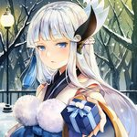 1girl bangs bare_tree blue_eyes blue_hair blunt_bangs blush box fence forest gift giving incoming_gift japanese_clothes kimono lamppost long_hair long_sleeves looking_at_viewer nature onmyoji outdoors parted_lips sash sibyl snow snowing solo tassel tree valentine wide_sleeves yuki_onna_(onmyoji)
