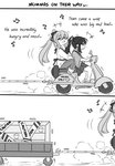 2girls 2koma :d apron bangs beamed_sixteenth_notes blush bow caution caution_tape collared_shirt comic crocs crossover driving eighth_note english_text eyebrows_visible_through_hair girls_frontline greyscale ground_vehicle guin_guin hair_between_eyes hair_bow hakama_skirt heart high_ponytail houshou_(kantai_collection) japanese_clothes kantai_collection kimono long_hair long_sleeves m1903_springfield_(girls_frontline) monochrome motor_vehicle multiple_girls musical_note open_mouth pants ponytail profile shirt sitting skull smile socks sunglasses very_long_hair wide_sleeves