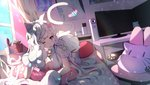 1girl ;o all_fours animal_ears bell blue_eyes braid breasts cat cat_ears cat_pillow cat_tail computer curtains dutch_angle gloves hair_ornament heart heart_hair_ornament highres indoors iron_saga jingle_bell large_breasts meruru_(iron_saga) monitor one_eye_closed paw_gloves paws pillow pink_pillow plant poster_(object) potted_plant rimsuk solo sunlight tail white_hair window