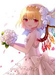 1girl :d alternate_costume bangs blonde_hair bouquet bow breasts bridal_veil bride cowboy_shot dress eyebrows_visible_through_hair flandre_scarlet flower frilled_skirt frills from_side glint hair_between_eyes hair_flower hair_ornament holding holding_bouquet jewelry layered_skirt looking_at_viewer necklace open_mouth pearl petals red_eyes rose sakipsakip short_hair side_ponytail simple_background skirt sleeveless sleeveless_dress small_breasts smile solo strapless strapless_dress touhou veil wedding_dress white_background white_bow white_dress white_flower white_rose wings
