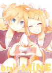 1boy 1girl :d ^_^ blonde_hair blue_eyes brother_and_sister closed_eyes commentary_request detached_sleeves english eyebrows_visible_through_hair hair_ornament hairclip headphones heart heart_hands heart_hands_duo kagamine_len kagamine_rin looking_at_viewer necktie open_mouth ryou_(fallxalice) sailor_collar short_hair siblings smile twins vocaloid
