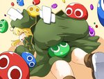 1girl all_fours ass bangs blonde_hair blush boots brown_footwear closed_eyes dress eyebrows_visible_through_hair from_behind furrowed_eyebrows green_dress green_hat hat long_hair long_sleeves madou_monogatari open_mouth puyo_(puyopuyo) puyopuyo sideways_mouth sleeves_past_wrists sugiura sweat tears witch_(puyopuyo)