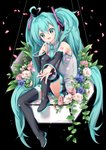1girl absurdly_long_hair aqua_eyes aqua_hair aqua_neckwear arami_o_8 bare_shoulders black_background black_legwear black_sleeves cherry_blossoms commentary detached_sleeves flower grey_shirt hair_ornament hatsune_miku headset highres holding holding_microphone knee_up leaf light_blush long_hair microphone necktie petals reaching_out rose shirt shoulder_tattoo sitting skirt sleeveless sleeveless_shirt smile solo symbol_commentary tattoo thighhighs twintails very_long_hair vocaloid zettai_ryouiki