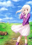 1girl ascot blue_sky boots closed_mouth cloud eyebrows_visible_through_hair fate/stay_night fate_(series) floating_hair flower frilled_skirt frills gyatto624 hair_between_eyes hand_in_hair highres illyasviel_von_einzbern long_hair long_sleeves looking_at_viewer medium_skirt outdoors pink_neckwear pink_skirt pleated_skirt purple_footwear purple_shirt red_eyes shirt silver_hair skirt sky smile solo standing wing_collar yellow_flower