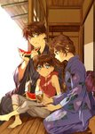 1girl 2boys barefoot blue_eyes bow braid braided_ponytail brown_hair cup drinking_glass edogawa_conan eyebrows_visible_through_hair food food_on_face fruit hair_between_eyes hair_over_shoulder holding holding_food japanese_clothes kimono kudou_shin'ichi long_hair meitantei_conan mouri_ran multiple_boys purple_bow purple_kimono red_cardigan ro-a side_braid sitting smile striped striped_kimono watermelon