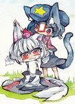 /\/\/\ 2girls animal_ears biting blue_hair blush cat_ears cat_tail ear_biting hat highres inubashiri_momiji kusuke miyako_yoshika multiple_girls ofuda red_eyes short_hair tail tokin_hat touhou traditional_media white_hair wolf_ears wolf_tail