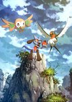 apple bird canine commentary_request fang flying food fruit gen_3_pokemon gen_4_pokemon gen_7_pokemon graphite_(medium) highres karamimame no_humans owl pokemon pokemon_(creature) riolu rowlet sitting taillow traditional_media wings