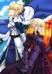2girls ahoge armor armored_dress artoria_pendragon_(all) blonde_hair blue_dress bow braid breasts cape cleavage dark_excalibur dress dual_persona fate/grand_order fate/stay_night fate_(series) faulds french_braid fur-trimmed_cape fur_trim gauntlets green_eyes hair_ribbon heaven's_feel highres juliet_sleeves long_sleeves multiple_girls open_mouth pale_skin puffy_sleeves ribbon saber saber_alter shiguru short_hair sidelocks sky yellow_eyes
