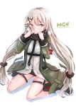 1girl bangs black_scarf black_shorts blush breath character_name coat commentary_request eyebrows_visible_through_hair girls_frontline hair_between_eyes hair_ornament hairclip hakuya_(white_night) holster long_hair looking_at_viewer low_twintails mg4_(girls_frontline) open_clothes open_coat parted_lips scarf shirt shorts simple_background sitting solo thigh_holster thigh_strap tsurime twintails very_long_hair wariza white_background white_shirt