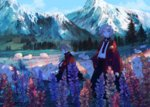 2girls androgynous animal blue_eyes commentary_request day flower from_side grass highres kneeling lupinus_(flower) mountain multiple_girls nature original outdoors petting profile scenery sheep sky standing sumi_(pixiv619693) tree