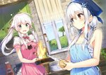 2girls absurdres anceril_sacred apron blush ciel_sacred fire food green_eyes heterochromia highres huge_filesize long_hair mishima_kurone multiple_girls original ribbon scan twintails white_hair