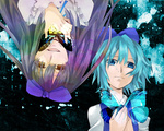 2girls bad_id bad_pixiv_id black_hair blue_eyes blue_hair bow butterfly cirno contrast crazy_eyes evil extacchiman hair_bow hands_on_own_chest long_hair multiple_girls neck_ribbon open_mouth ribbon short_hair star_sapphire tears touhou upper_body upside-down yellow_eyes