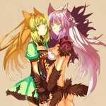 2girls animal_ears ass atalanta_(alter)_(fate) atalanta_(fate) breasts brown_background cat_ears commentary_request cowboy_shot fate/grand_order fate_(series) gloves green_eyes green_hair holding_hands long_hair looking_at_viewer medium_breasts multiple_girls purple_hair shadow sideboob small_breasts x10-a yellow_eyes