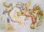 battle blaziken claws clenched_hands commentary commission duel endivinity eye_contact fire gen_3_pokemon gen_4_pokemon grey_background infernape jumping kicking looking_at_another no_humans open_mouth pokemon pokemon_(creature) realistic sharp_teeth signature simple_background standing standing_on_one_leg tail teeth traditional_media