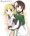 2girls :d ama_usa_an_uniform animal_ears apron back-to-back bangs black_legwear black_skirt blonde_hair blue_eyes blue_hair blunt_bangs blush bolo_tie brown_hair bunny_ears closed_mouth collared_shirt commentary dated eyebrows_visible_through_hair fake_animal_ears flat_chest fleur_de_lapin_uniform floppy_ears flower frilled_apron frilled_cuffs frilled_shirt frilled_skirt frills gochuumon_wa_usagi_desu_ka? green_eyes green_kimono hair_flower hair_ornament hanzaki_hiya highres holding holding_tray japanese_clothes kimono kirima_sharo leaning_forward long_hair long_sleeves looking_at_viewer maid_apron maid_headdress multiple_girls open_mouth polka_dot_trim puffy_short_sleeves puffy_sleeves shirt short_hair short_sleeves sidelocks skirt smile standing striped striped_kimono tray twitter_username two-tone_background ujimatsu_chiya underbust waist_apron white_apron white_flower white_legwear white_shirt wide_sleeves wing_collar wrist_cuffs