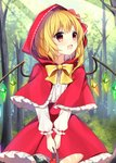 1girl absurdres apple basket blonde_hair blush bottle bow bread cape commentary crystal day eyebrows_visible_through_hair fang flandre_scarlet food forest frilled_cape frilled_skirt frilled_sleeves frills fruit highres holding hood light_rays long_sleeves nature open_mouth outdoors red_bow red_cape red_eyes red_hood red_skirt ribbon ribbon-trimmed_hood ribbon-trimmed_sleeves ribbon_trim ruhika shirt short_hair skirt smile solo sunbeam sunlight touhou tree white_shirt wings yellow_bow yellow_neckwear