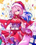 1girl animal animal_on_shoulder bow box breasts capelet cleavage cowboy_shot dress eyebrows_visible_through_hair fate/grand_order fate_(series) fou_(fate/grand_order) fur-trimmed_capelet fur-trimmed_dress fur-trimmed_gloves fur-trimmed_hat fur_trim garter_straps gloves hat highres holding holding_box kyarameru76 looking_at_viewer mash_kyrielight medium_breasts pink_hair purple_eyes purple_legwear red_capelet red_dress red_gloves red_hat santa_costume santa_gloves santa_hat short_dress short_hair sideboob sleeveless sleeveless_dress solo standing strapless strapless_dress thighhighs white_bow
