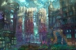 1girl angel building city cityscape cloud colorful flower glowing highres landscape looking_back munashichi original scenery sky solo star_(sky) starry_sky statue sword urban weapon