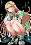 1girl bangs bare_shoulders black_background blonde_hair blush breasts cleavage dress earrings full_body gem gloves head_on_hand highres hikari_(xenoblade_2) jewelry large_breasts long_hair simple_background solo squatting swept_bangs thighs tiara xenoblade_(series) xenoblade_2 yellow_eyes yuuuun0218