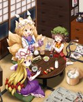 3girls :d ^_^ animal_ears ass blonde_hair bow bowtie brown_hair calendar_(object) cat_ears cat_tail chen chopsticks closed_eyes commentary_request container drawer dress earrings elbow_gloves eyebrows_visible_through_hair fish flower food fox_tail from_behind gloves green_hat hair_between_eyes hair_bow hat hat_ribbon highres holding indoors jewelry long_sleeves looking_at_another looking_at_viewer looking_back miso_soup mob_cap multiple_girls multiple_tails newspaper no_shoes open_mouth petticoat phone pillow_hat purple_dress purple_eyes red_bow red_flower red_ribbon red_rose red_skirt red_vest ribbon rice rose ruu_(tksymkw) short_hair sitting skirt smile socks soup soy_sauce tabard table tail tatami touhou translation_request two_tails vase vest white_gloves white_hat white_legwear wide_sleeves yakumo_ran yakumo_yukari yellow_bow yellow_eyes yellow_neckwear