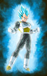 1boy armor aura blue_eyes blue_hair boots clenched_hands clenched_teeth dragon_ball dragon_ball_super full_body gloves highres kamishima_kanon male_focus muscle solo spiked_hair super_saiyan super_saiyan_blue teeth vegeta white_boots white_gloves widow's_peak