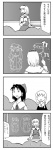 4girls 4koma alice_margatroid azumanga_daiou bad_id bow braid comic detached_sleeves hairband hakurei_reimu hat highres kirisame_marisa long_hair monochrome multiple_girls nattororo parody patchouli_knowledge short_hair touhou translated