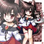 1girl animal_ears blush brooch brown_hair dress fang fingernails imaizumi_kagerou iwaki_hazuki jewelry long_hair long_sleeves open_mouth red_eyes smile solo tail touhou wide_sleeves wolf_ears wolf_tail