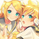 +_+ 1boy 1girl :o aqua_eyes blonde_hair blush bow close-up commentary eyebrows_visible_through_hair face fingernails hair_bow hands_together happy headset highres kagamine_len kagamine_rin looking_at_viewer looking_away musical_note nail_polish open_mouth ribbon sailor_collar shaded_face shinotarou_(nagunaguex) short_hair simple_background smile star treble_clef upper_body vocaloid white_background white_ribbon yellow_nails