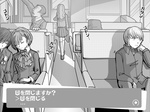 2girls 3boys chin_rest closed_eyes female_protagonist_(persona_3) headphones headphones_around_neck konishi_saki long_hair monochrome morooka_kinshirou multiple_boys multiple_girls narukami_yuu persona persona_3 persona_3_portable persona_4 school_uniform sitting sleeping smile tokiwa_(mukoku) train_interior translated vanishing_point yuuki_makoto