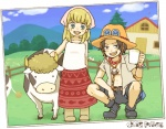 1boy 1girl black_hair blonde_hair blue_eyes boots brown_eyes child copyright_name cow freckles glass hat log_pose milk moda one_piece photo_(object) portgas_d_ace squatting yukke
