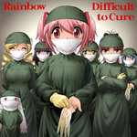 6+girls akemi_homura album_cover black_hair blonde_hair blue_hair brown_eyes closed_eyes cover crossed_arms difficult_to_cure drill_hair gloves kaname_madoka kyubey long_hair looking_at_viewer mahou_shoujo_madoka_magica maroon_hair miki_sayaka multiple_girls parody pink_eyes pink_hair purple_eyes putting_on_gloves rainbow_(band) red_eyes sakura_kyouko scrubs(outfit) shingyouji_tatsuya shizuki_hitomi short_hair smile surgeon surgical_mask tomoe_mami twin_drills twintails