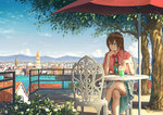 1girl balcony bendy_straw blue_dress blue_eyes blue_sky bow bowtie brown_hair capelet chair chin_rest city cityscape cloud crossed_legs cup daisy day dress drinking_glass drinking_straw elbow_rest expressionless flower frilled_skirt frills gem highres holding looking_to_the_side md5_mismatch mountain original outdoors railing red_bow red_neckwear shade shadow short_hair sitting skirt sky solo stairs sugi87 table tree umbrella water