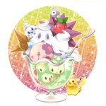 :d castform cherry cherubi creature cup duosion food fruit glass ice_cream luvdisc munna nigo no_humans open_mouth pikachu pointy_ears pokemon pokemon_(creature) reuniclus smile solosis spoon standing star starmie staryu sundae vanillite vanilluxe