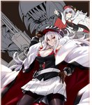 2girls azur_lane bangs black_headwear black_legwear breasts brown_gloves cleavage coat eyebrows_visible_through_hair fur-trimmed_coat fur_trim gloves graf_zeppelin_(azur_lane) grin hair_between_eyes hand_on_hip hat iron_cross large_breasts lefthand long_hair long_sleeves looking_at_viewer military military_hat military_uniform multiple_girls pantyhose peaked_cap pleated_skirt pointing pout red_eyes rigging sidelocks silver_hair skirt smile sparkle teeth uniform very_long_hair white_skirt zeppelin-chan_(azur_lane)