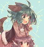 2girls :d ahoge animal_ears blue_background blush dress fang green_eyes green_hair heart_sutra highres kasodani_kyouko long_sleeves multiple_girls mystia_lorelei open_mouth out_of_frame pink_hair red_eyes short_hair smile tail tail_wagging text touhou usamata vest