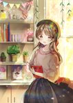 1girl :d bag bangs beret black_hat black_skirt blurry blurry_background blush book brown_eyes brown_hair collarbone commentary_request curtains day depth_of_field drawing eyebrows_visible_through_hair handbag hat indoors jar long_hair long_sleeves looking_at_viewer miyo_(user_zdsp7735) object_hug open_mouth original pennant picture_frame pink_sweater plant potted_plant puffy_long_sleeves puffy_sleeves shelf shoulder_bag skirt smile solo string_of_flags sunlight sweater