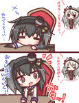 2girls 2koma :d :o =_= amatsukaze_(kantai_collection) anchor anchor_symbol arms_at_sides bangs black_eyes black_hair black_ribbon blush blush_stickers brown_dress chair collar comic commentary_request desk dress eyebrows_visible_through_hair fang gradient_hair grey_hair hair_between_eyes hair_ribbon hair_tubes hat holding holding_leash kantai_collection komakoma_(magicaltale) leash lifebuoy long_hair long_sleeves mini_hat multicolored_hair multiple_girls neckerchief open_mouth pink_eyes ribbon sailor_collar sailor_dress sailor_shirt shirt short_dress short_hair_with_long_locks silver_hair sitting smile smokestack speed_lines standing thick_eyebrows thighhighs tokitsukaze_(kantai_collection) translation_request two_side_up v-shaped_eyebrows very_long_hair white_shirt windsock yellow_neckwear