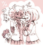1boy 2girls ashido_mina boku_no_hero_academia closed_eyes lowres minoru_mineta monochrome multiple_girls pocky pocky_kiss school_uniform shared_food short_hair smile uraraka_ochako
