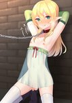 1boy ankle_boots arms_behind_back bangs bare_shoulders black_footwear blonde_hair blush boots bound breath censored chain clenched_teeth collar collarbone commentary_request elbow_gloves elf eyebrows_visible_through_hair fang gloves green_eyes green_gloves hair_between_eyes highres kneeling leash legs_apart looking_at_viewer mizuki_eiru_(akagi_kurage) mosaic_censoring navel nipples original otoko_no_ko penis pointy_ears red_collar red_ribbon restrained ribbon see-through standing teeth thighhighs white_legwear