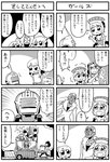 3boys 4koma 5girls agnes_joubert arms_behind_back bangs bkub blue_rose_(tiger_&_bunny) box cain_morris character_request comic crying crying_with_eyes_open crystal_earrings dark_skin dress earrings emphasis_lines eyebrows_visible_through_hair flower flying_sweatdrops fountain gloves greyscale hair_ornament holding holding_box huang_baoling jacket jewelry karina_lyle long_hair monochrome multiple_4koma multiple_boys multiple_girls nathan_seymour one_side_up power_suit shaded_face shirt short_hair shouting simple_background sky_high speech_bubble sweatdrop talking tears tiger_&_bunny translation_request two-tone_background