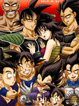 anger_vein armband armor bald bardock black_hair closed_eyes dated dougi dragon_ball dragon_ball_z facial_hair family fingers_together gine gloves grin husband_and_wife karasuma_rauru lavender_hair mustache nappa nervous open_mouth raditz signature smile son_gohan son_gokuu son_goten sweat tarble trunks_(dragon_ball) vegeta w white_gloves wristband
