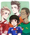 2010_fifa_world_cup 4boys adidas axis_powers_hetalia cameroon_(hetalia) clothes_writing denmark_(hetalia) glasses japan_(hetalia) male_focus multiple_boys netherlands_(hetalia) puma_ag scar sideburns spiked_hair sportswear world_cup yurizuka_(sergeant_heart)