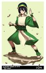 1girl anklet autumn-north avatar:_the_last_airbender barefoot black_hair blind blue_eyes chinese_clothes fighting_stance hair_bun hairband jewelry short_hair solo toph_bei_fong