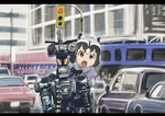 1girl animal_ears black_hair bow bowtie brown_eyes car check_commentary commentary_request common_raccoon_(kemono_friends) fang gloves grey_hair ground_vehicle johnny_5 kemono_friends mechanical motor_vehicle multicolored_hair open_mouth outdoors raccoon_ears robot short_circuit_2 short_hair short_sleeves traffic_light ueyama_michirou