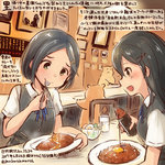 2girls :d animal black_hair black_vest blouse blue_ribbon colored_pencil_(medium) commentary_request curry curry_rice dated food green_eyes hair_between_eyes hair_ornament hamster holding holding_spoon kantai_collection kirisawa_juuzou kuroshio_(kantai_collection) long_hair multiple_girls numbered open_mouth oyashio_(kantai_collection) ribbon rice short_hair short_sleeves sitting smile spoon spoon_in_mouth traditional_media translation_request twitter_username vest white_blouse