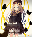 1girl abigail_williams_(fate/grand_order) bangs beckzawachi black_bow black_dress black_hat blonde_hair bloomers blue_eyes bow butterfly closed_mouth commentary_request dress eyebrows_visible_through_hair fate/grand_order fate_(series) forehead hair_bow hat long_hair long_sleeves looking_at_viewer noose object_hug orange_bow parted_bangs polka_dot polka_dot_bow sleeves_past_fingers sleeves_past_wrists solo stuffed_animal stuffed_toy teddy_bear underwear very_long_hair white_bloomers