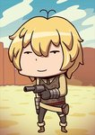 1boy antenna_hair april_fools billy_the_kid_(fate/grand_order) blonde_hair blue_sky brown_footwear chibi cloud day desert fate/grand_order fate_(series) gun handgun holding holding_gun holding_weapon long_sleeves looking_at_viewer male_focus official_art revolver riyo_(lyomsnpmp) shoes sky solo star vest weapon