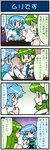 4koma artist_self-insert blue_hair closed_eyes comic detached_sleeves food frog_hair_ornament green_eyes green_hair hair_ornament heterochromia highres juliet_sleeves karakasa_obake kochiya_sanae long_sleeves mizuki_hitoshi open_mouth plate puffy_sleeves real_life_insert smile snake_hair_ornament sweat tatara_kogasa touhou translated umbrella